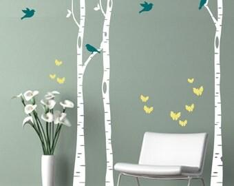 Birch Trees Birds & Butterflies Fabric Wall Decal