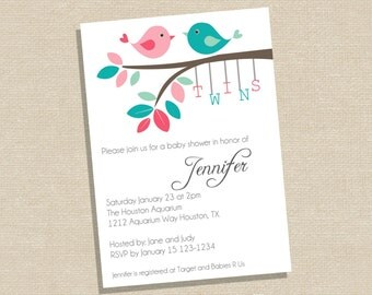 Twin Baby Shower Invitation - Twin Bird Baby Shower Invitation - Twin Baby Shower Invite  - Baby Shower Invitation