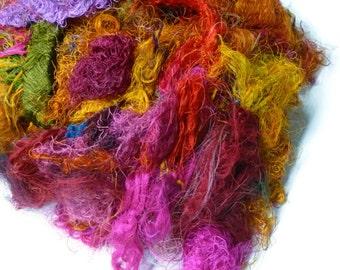 Sari Silk Fiber,1 oz,Mix(warm colours)