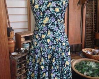 Vintage Laura Ashley floral dress deep V back big bow 80's knee length
