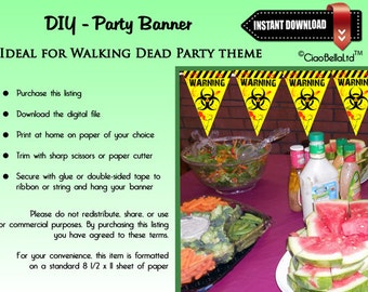 Printable Zombie Warning Party Banner - INSTANT DIGITAL DOWNLOAD