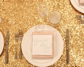 """1 DAY SHIP Sale 120"""" Round Gold Sequin Table Cloth Sequin Table Cloth Wholesale Sequin Table Cloths Sequin Linens Pink Sequin Gold Sequin"""
