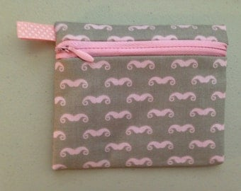 Pink Mustaches on Gray Zipper coin Purse, Credit Card, Earbud, iPod Holder