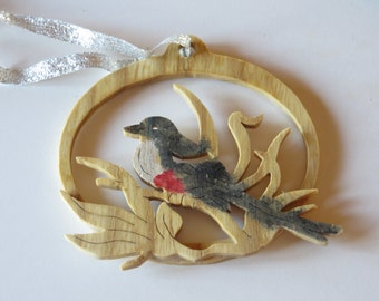 Scissor-Tailed Fly Cather Songbird Fretwork Ornament