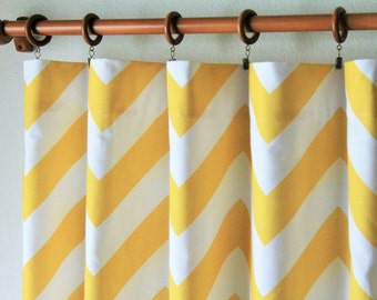 "Pair 25 "" wide corn yellow BIG zippy chevron curtain panels drapes curtains zig zag 25x63 25x84"" 25x96"" or 25x108""- can add grommets"
