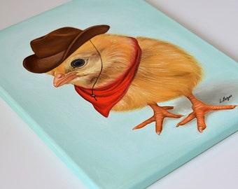 Chick canvas. Chick nursery art. Chick giclée print on canvas. Chick wrapped canvas. Chick art.  Kids decor. Children decor.  Cowboy chick.