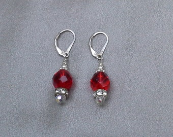 Swarovski Crystal Pierced Earrings of 925 Sterling Silver with Red and Clear Crystals Dangling