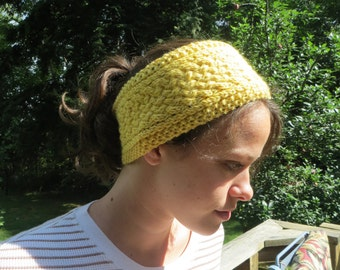 Handknit yellow wool lattice cable pattern headband for women
