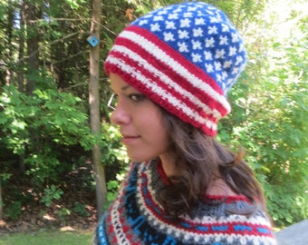 Stars and stripes wool hat