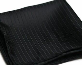 POCKET SQUARES in Black on Black Stripes