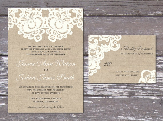 Burlap Wedding Invitations Diy: Burlap Lace Rustic Wedding Invitation Suite Printable DIY