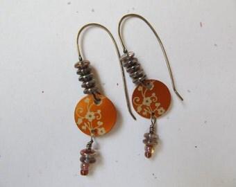 Orange Flowered Aluminum Charm Artisan Earrings
