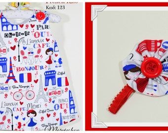 Paris theme dress,girls top, girls dress, baby to toddler, blue and red dress, childrens clothing, matching headband
