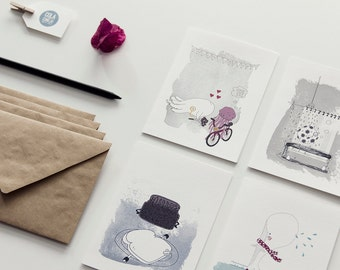 Greeting card set, 4 illustrated folded cards with envelope