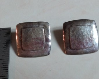 Sterling Silver Earrings Hammered Square