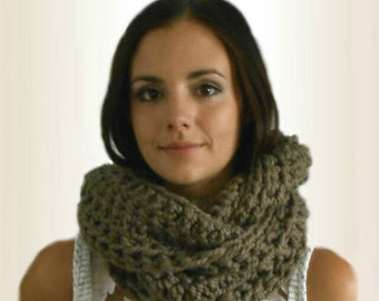 Infinity Scarf Cowl Extra Long Hand Made in USA Crochet Wool Chunky Loop Scarf Circle Scarf  Dark Taupe Dusky Brown Gift Ready to Ship