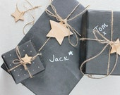Black Chalkboard Gift Wrap Set. Unique rustic wrapping paper. Birthday christmas fathers day. For him. Wooden star tags twine. Teacher gift