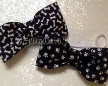 Adorable Doggie Bow Ties Bone or Paw Print Stretch elastic neck tie Sm, Med or Lg Dogs