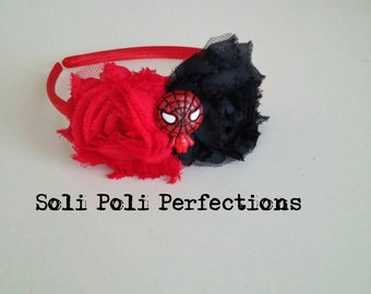 Spiderman Headband, Red Headband, Black Headband, Super Hero Headband, Marvel Headband, Toddler Headband,