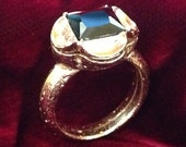 "Replica Tudor Style Gold-Plated ""Black Diamond"" Ring for Renaissance/Elizabethan Reenactment - Medium Size"