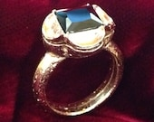 "Replica Tudor Style Gold-Plated ""Black Diamond"" Ring for Renaissance/Elizabethan Reenactment - Small Size"