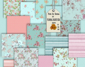 Digital kit FLORAL BLUE SEA, papers, floral papers, blue, garden, spring, flowers, caribean blue