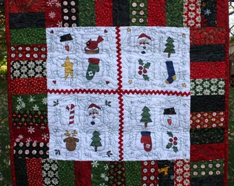 Christmas Quilted Table Runner Centerpiece - Christmas Countdown by Moda