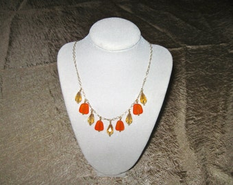 Orange Seaglass and Crystal