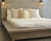 Sale! 20% off Floating Wood Platform Bed frame with Lighted Headboard-Quilmes
