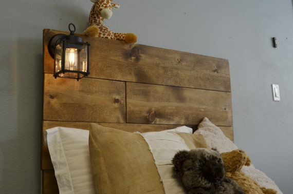 Wood twin headboard with built in lighting cordoba for Rustic headboard with lights