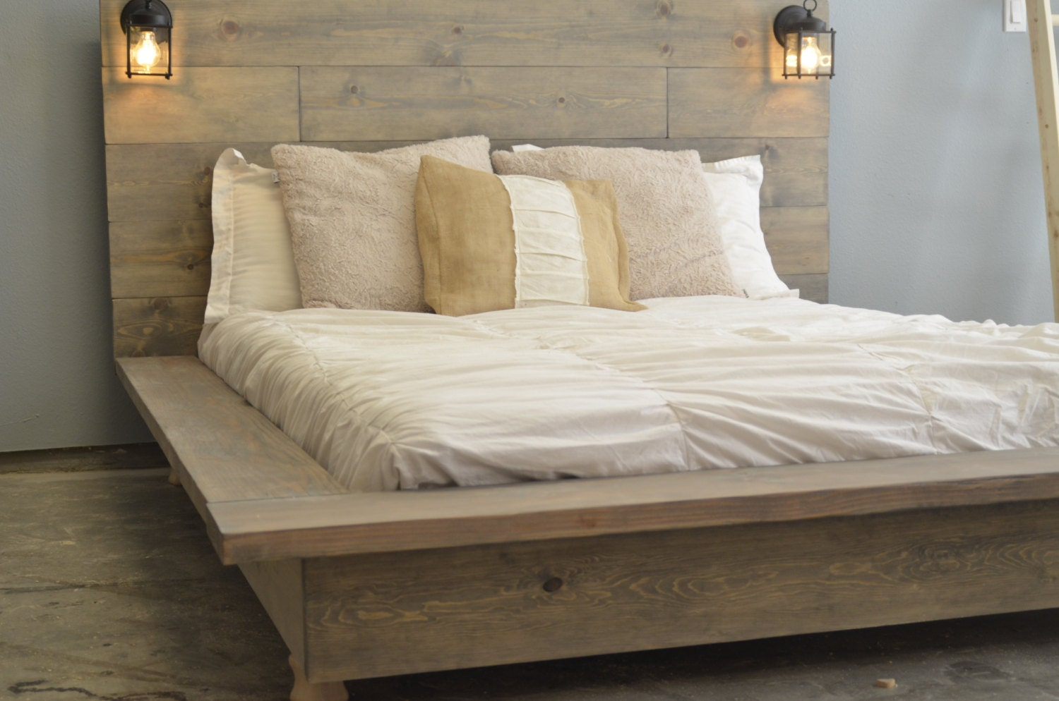 floating wood platform bed frame with lighted headboard quilmes zoom