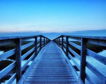 Last Light, 5x7 Photograph Cape Cod Beach Art, Blue, Dock,Dusk