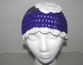 SALE - Purple, Verigate and White Hat with Scallop edging and flower