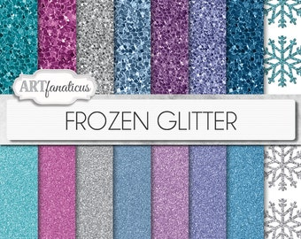 "16 Frozen glitter digital papers ""Frozen Glitter"" palette inspired by Disney's Frozen movie, with fine glitter, chunky glitter, snowflakes"