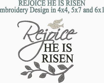 He Is Risen Rejoice Christian Embroidery Design