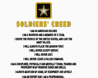 creed essay soldier Soldier's creed, am i an expert and am i a professional essay the army cannot generate a professional fighting force without the appropriate institutional development each soldier and commissioned officer entering military service takes an oath in order to become part of the army profession however, they are not professionals until advanced.