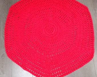 Clover doily Hexagon hexagonal coral red doily