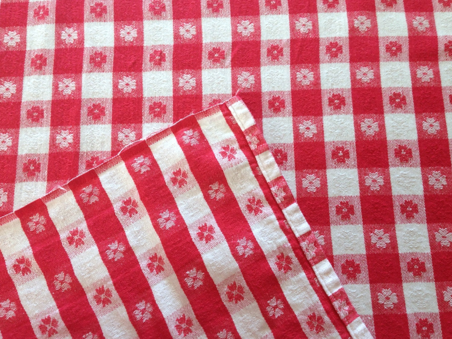 Vintage Red White Woven Gingham Cotton Tablecloth Farmhouse