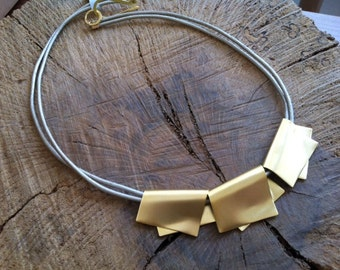 Contemporary necklace, Leather and gold, Bib necklace, Statement leather necklace, Minimalist Modern Jewelry, Gold and black necklace