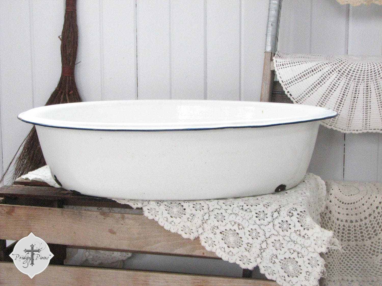 Extra Large Antique Vintage Farmhouse Enamelware Baby Bath Tub