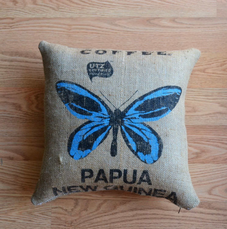 Burlap decorative burlap pillow throw cover authentic dunn for Decorative burlap bags