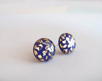 Royal Blue Gold Round Stud Earrings - Hypoallergenic Surgical Steel Posts