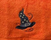 Halloween Towel Witch Towel Orange Towel Guest Towel Terry Hand Towel - Hagatha's Hat