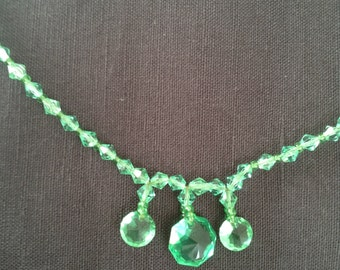 19s green crystal necklace