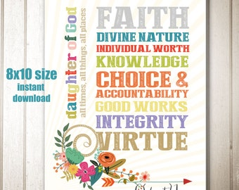 8x10 size Instant Download - Young Women Values, Daughter of God
