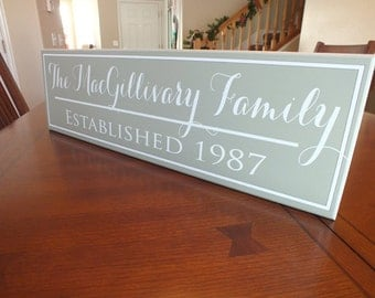 Established Family Sign Personalized Family Name Sign Plaque 7x24 Wall Sign wedding or anniversary gift