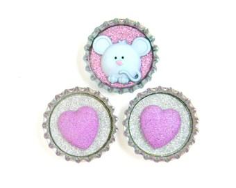 Bottle Cap Magnets - Mouse Pink - Set of 3 Glitter Resin Filled