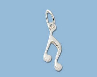 925 Sterling Silver Charm Musical Note 6.25 x 15mm 2 Pieces, Made in USA