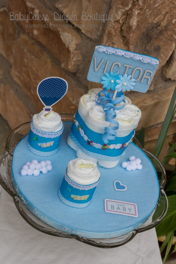 Diaper Cake Centerpiece for Baby Boy - Baby Shower Decoration or Baby Shower Gift