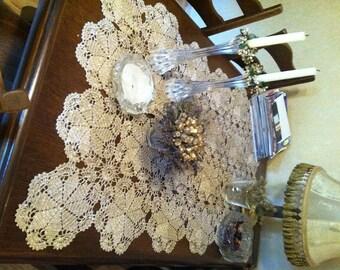 Sparkling silver Crochet Table Runner